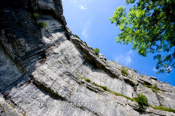 Looking up at the amphitheatre shaped cliffs of Malham Cove