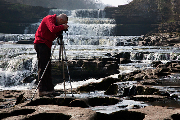 Photographing at Aysgarth Falls, Wensleydale, Yorkshire Dales