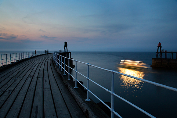 Twilight Cruise Leaves The Harbour at Whitby