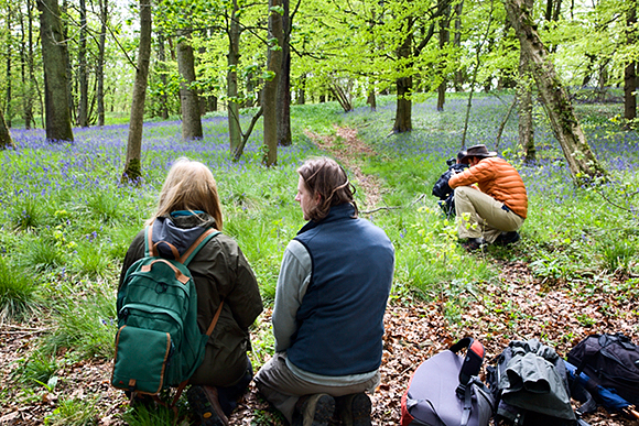 Sam giving some macro photography advice amongst the bluebells