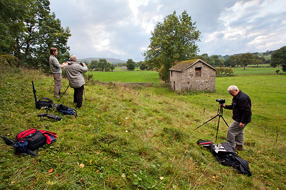 Working on a Panorama of the Three Barns near West Burton, Wensleydale