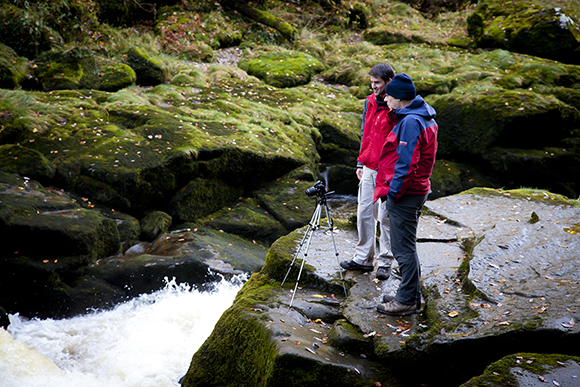 Taking a look at the fast moving waters of the Strid.
