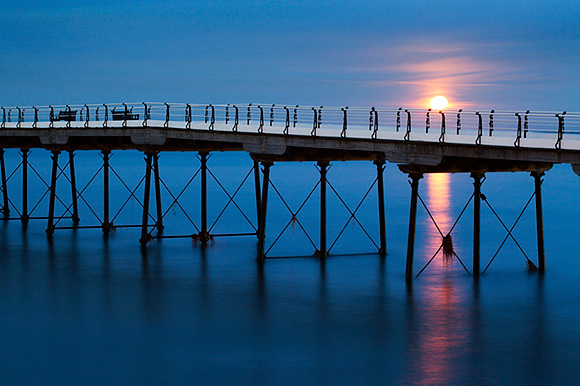 Moonrise at Saltburn Pier