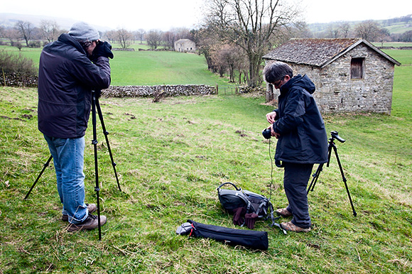 Photographing barns near West Burton