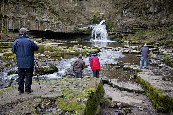 Photographing at West Burton Waterfall at the end of the day
