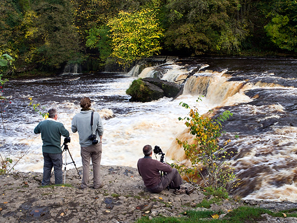 Waterfalls and autumn colours at Upper Aysgarth Falls