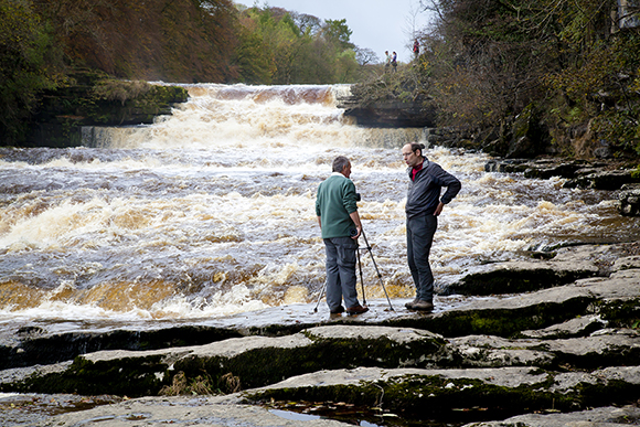 Fast-flowing water at Lower Aysgarth Falls