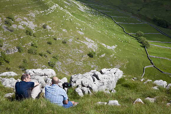 Having a restful chat after the climb to the top of Gordale