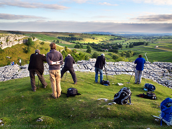 Photographing at Malham Cove at the End of the Day