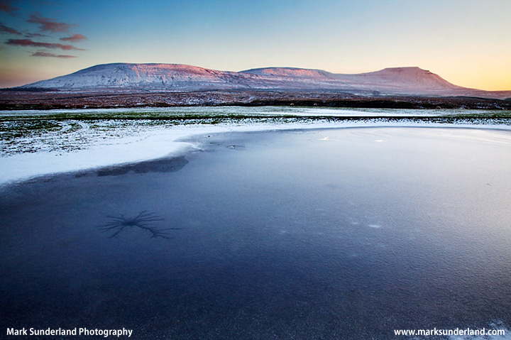 Frozen Pool and Park Fell Simon Fell and Ingleborough at Sunset