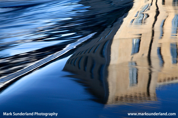Abstract Reflection of New Mill in the River Aire Saltaire West