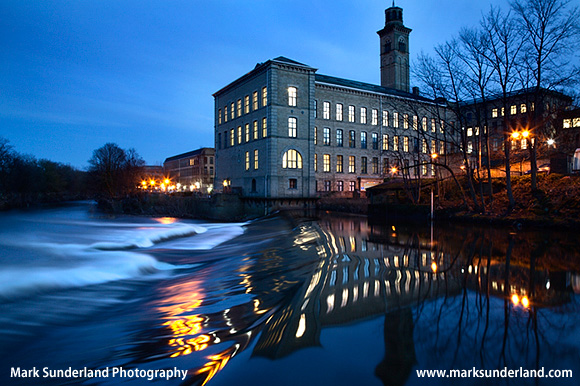 New Mill by the River Aire at Dusk Saltaire West Yorkshire England