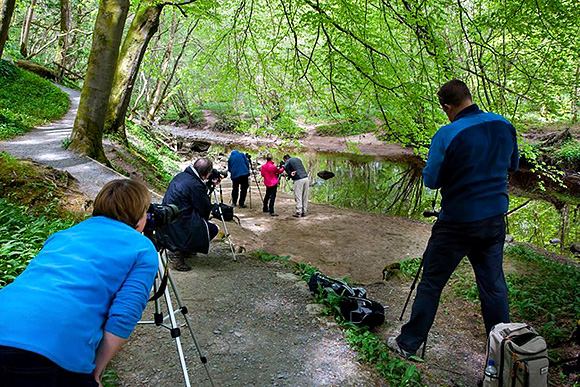 Photographing Reflections in the Wharfe in Strid Wood