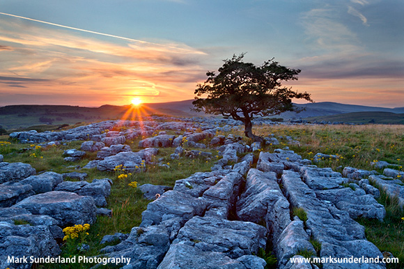 Sunset at Winskill Stones near Settle Ribblesdale Yorkshire Dales England