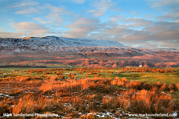 Wherside at Sunset in Winter near Ivescar Ribblehead Yorkshire Dales England