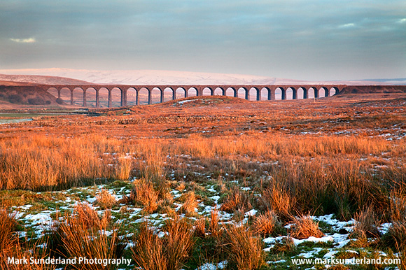 The Ribblehead Viaduct at Sunset in Winter Ribblehead Yorkshire Dales England