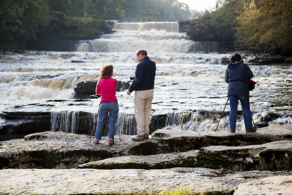 Looking for Details at Lower Aysgarth Falls