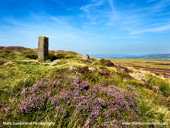 Lanshaw Lad Boundary Stone on Ilkley Moor in Summer Ilkley West Yorkshire England