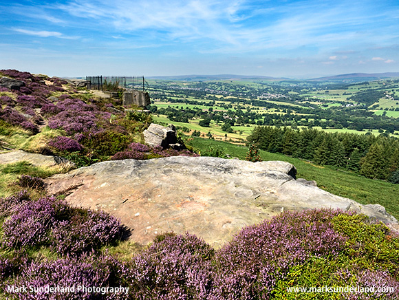 View over Wharfedale from the Swastika Stone at Woodhouse Crag Ilkley Moor West Yorkshire England