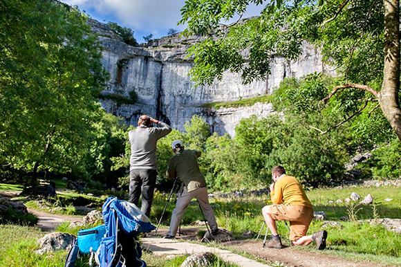 Photographing below Malham Cove at the end of the day