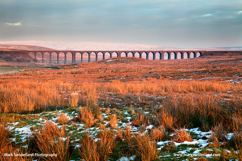 Ribblehead Viaduct at Sunset in Winter