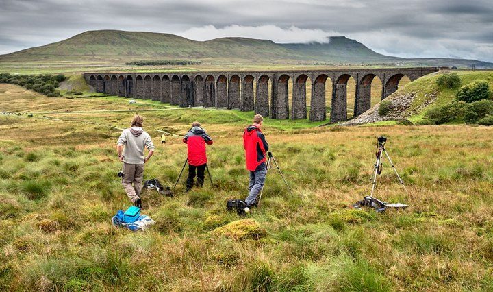Photographing low clouds over Ingleborough from Ribblehead Viaduct