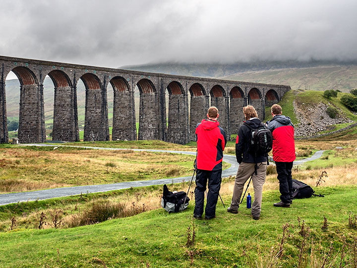 Ribblehead Viaduct and Whernside shrouded in cloud