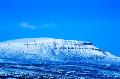 A snow capped Pen-y-Ghent at dusk, Yorkshire Dales