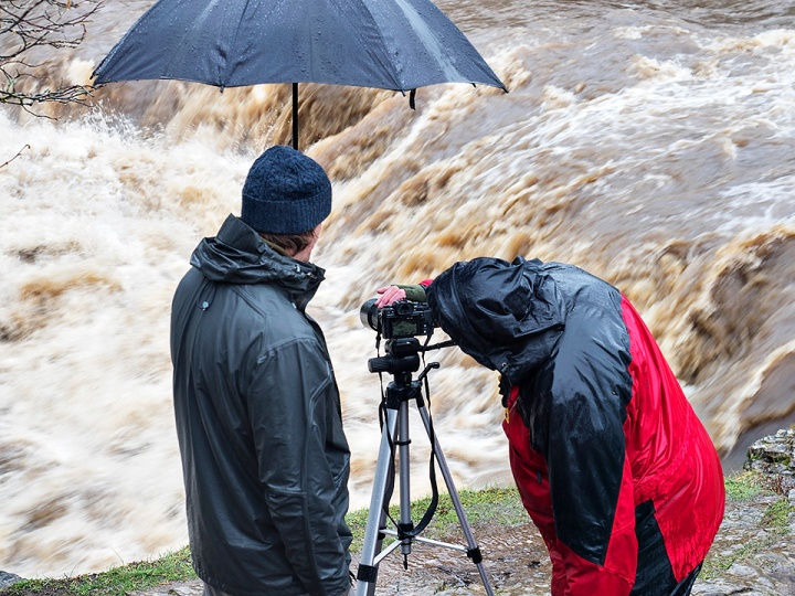 Shooting fast-flowing water at Upper Aysgarth Falls