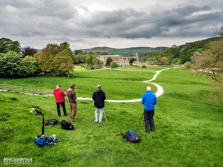 Photographing the priory ruins at the end of the day