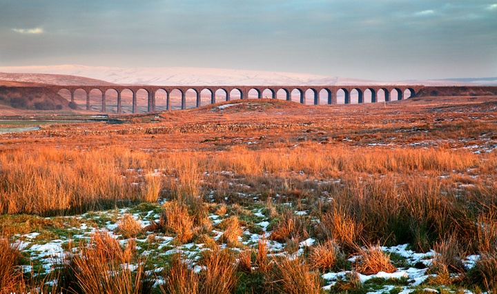 The Ribblehead Viaduct at Sunset in Winter