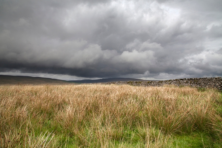 Dramatic Sky and Dry Stone Wall, Ribblesdale, Three Peaks, North Yorkshire Dales National Park