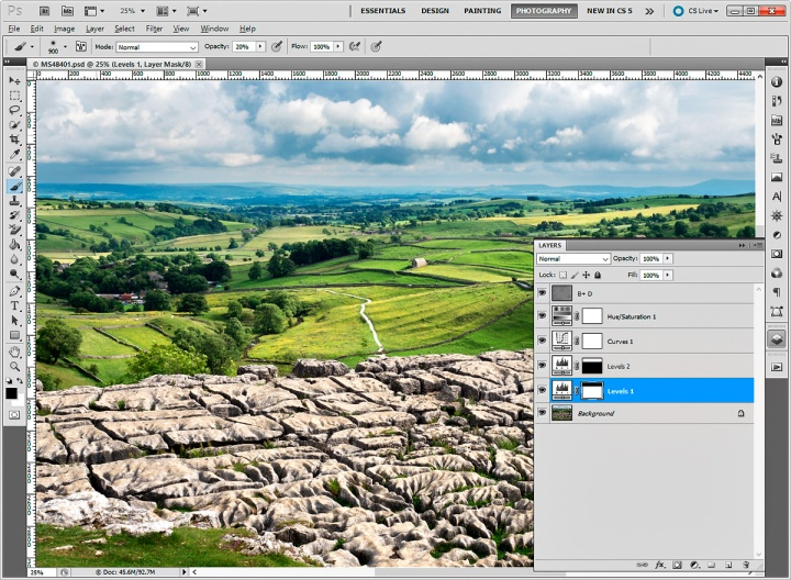 Malham Cove image in Photoshop with Layers palette open